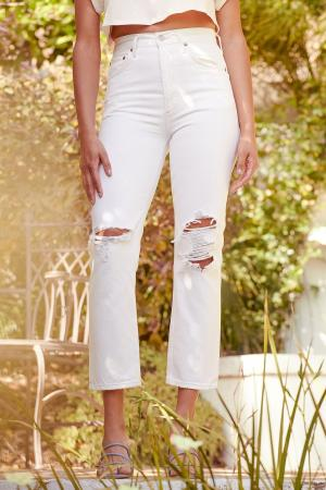 Riley White Distressed High Rise Straight Cropped Jeans