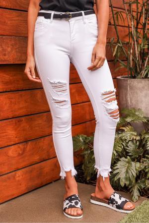 Amelia White Distressed Denim High Rise Skinny Jeans